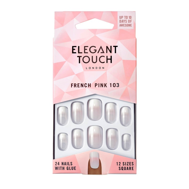 Faux ongles French Nails 103 (M) Pink Elegant Touch