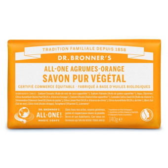 Pain de savon agrumes-orange Dr Bronner's 140 g
